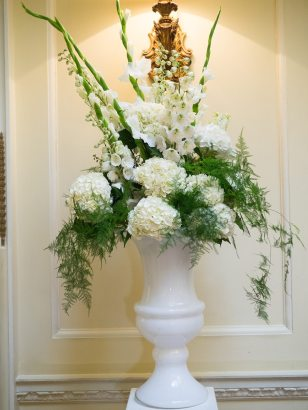 White urn statement vase of flowers at Hedsor House