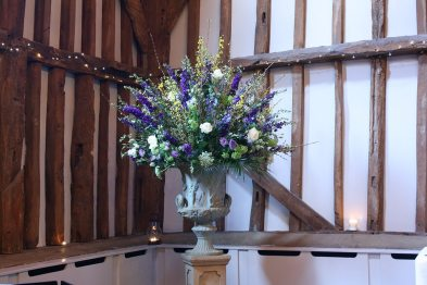 Large urn of flowers at The Olde Bell