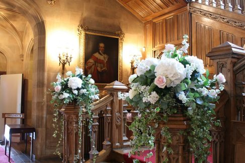 Staircase flowers at Highclere Castle