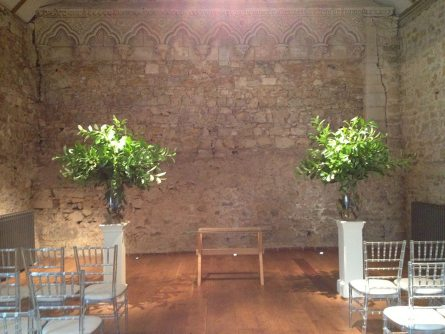 Foliage Statement vases at Notley Abbey