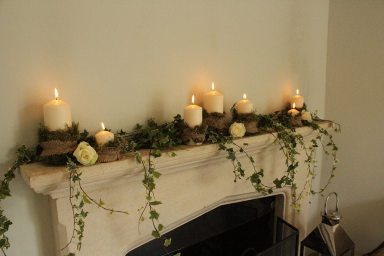 Mantelpiece at Notley Abbey Candles and Ivy