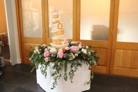 Cake Table flowers at Botleys Mansion