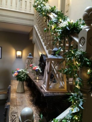 Staircase flowers at The Olde Bell Hurley