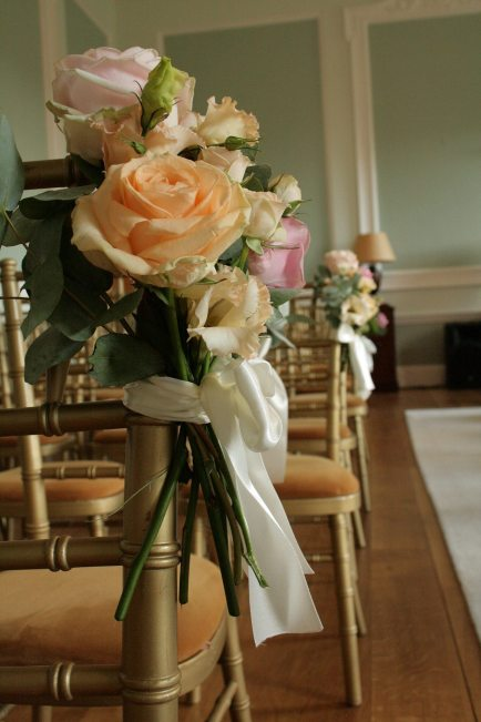 Peach and pink chair ties at Botleys Mansion