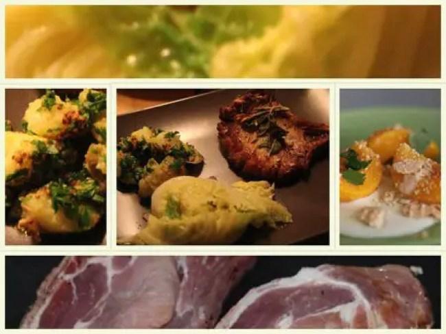 Jamie Oliver 30 Minuten Menü - Schweinekoteletts mit Knusperkruste, Qutschkartoffeln, Wirsing mit Minze, heiße Pfirsiche mit Vanillesauce