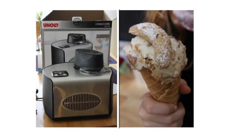 Vanillekipferl Eis zu Weihnachten mit der Unold Eismaschine de Luxe