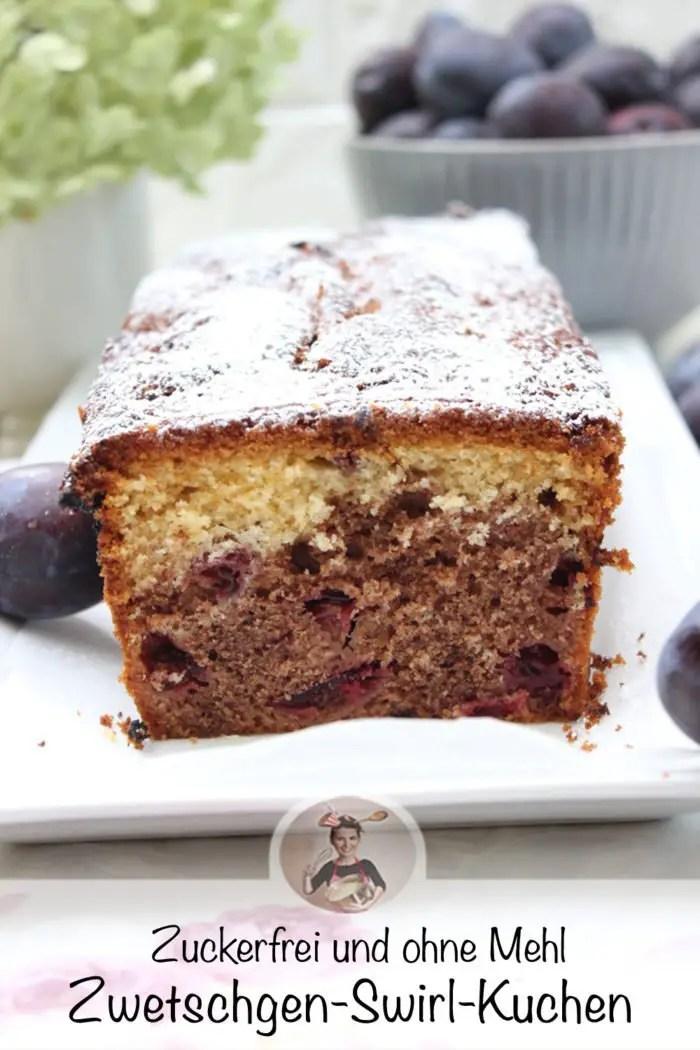 Zwetschgen-Swirl-Kuchen in zwei Varianten - zuckerfrei-lowcarb und klassisch gebacken