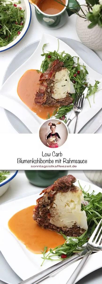 Low Carb Blumenkohlbombe mit Rahmsauce