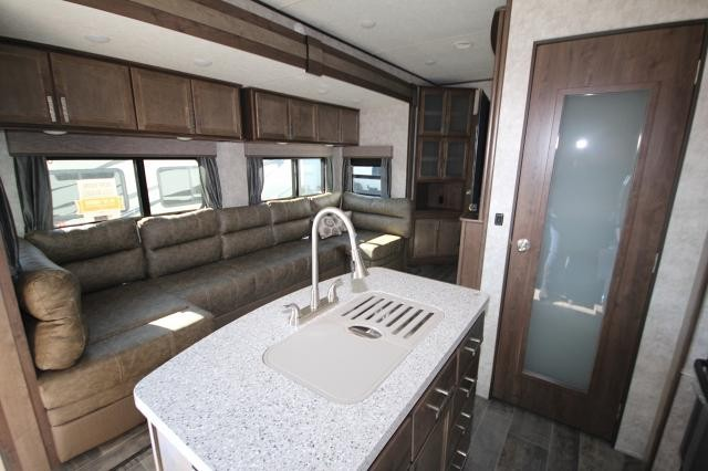 rear kitchen travel trailers whitewashed cabinets 2018 mesa ridge fifth wheel 374bhs bunk house 4 ...