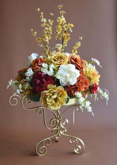 Autumn Flowers with Gold Stand