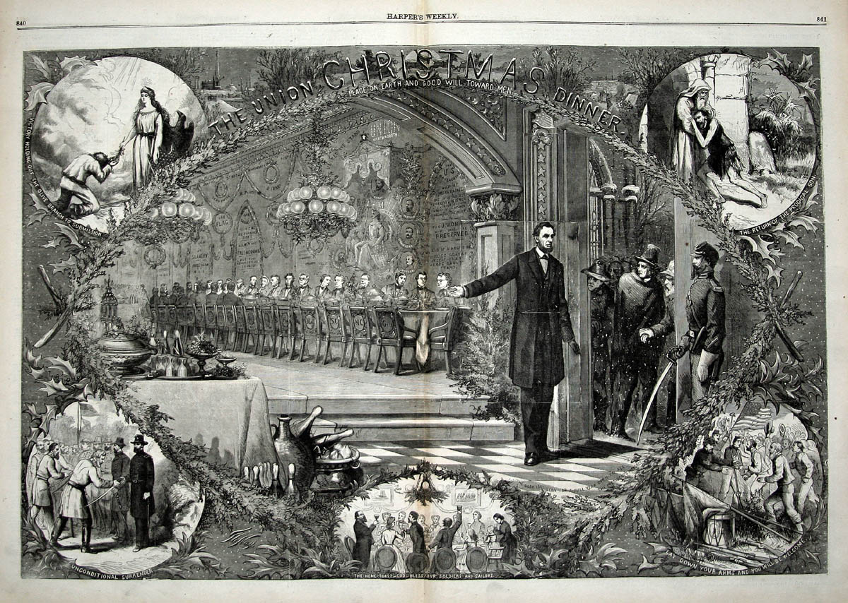 "Image by Thomas Nast, in Harper's Weekly.  White House History @WhiteHouseHstry Tweeted: ""The Union Christmas Dinner,"" an illustration which symbolically depicts the reconciliation of the war-torn nation."