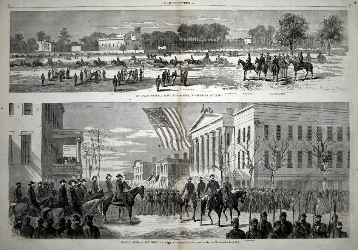 General Sherman Reviewing Troops At Savannah Georgia