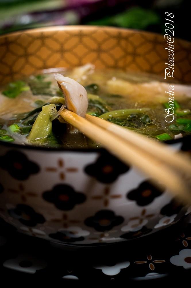 zuppa cinese  di pollo, porro e bietola