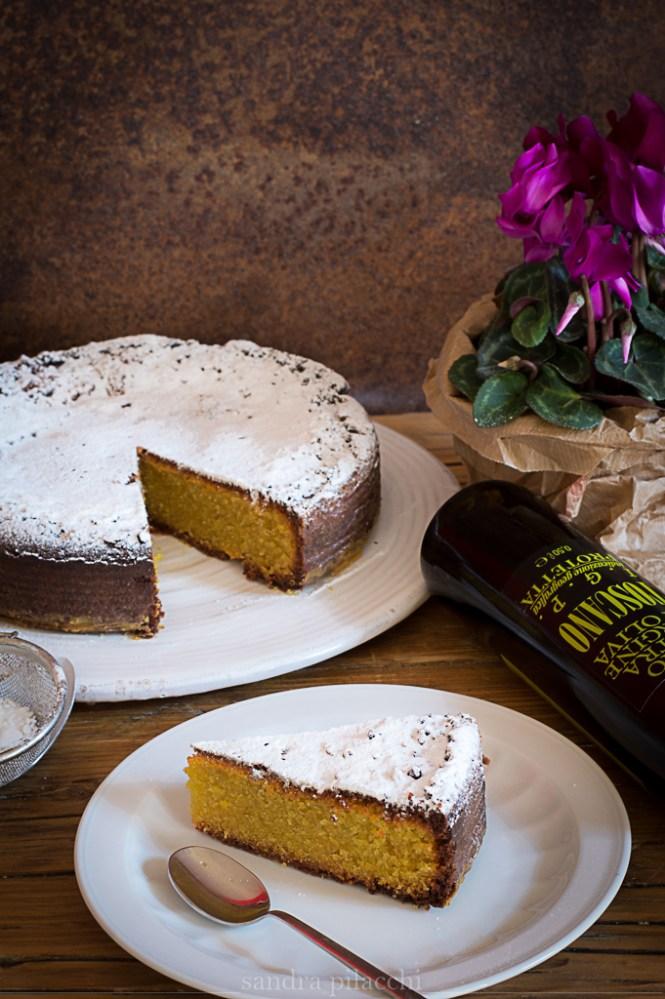 Torta caprese al limone, bergamotto e cioccolato bianco