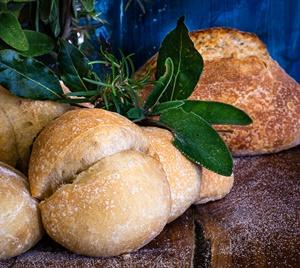 semelle di farina bianca all'olio di alloro, salvia e rosmarino