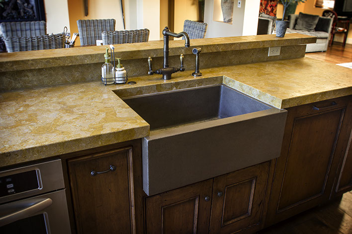 cement kitchen sink trash compactor sonoma cast stone concrete sinks farm for the