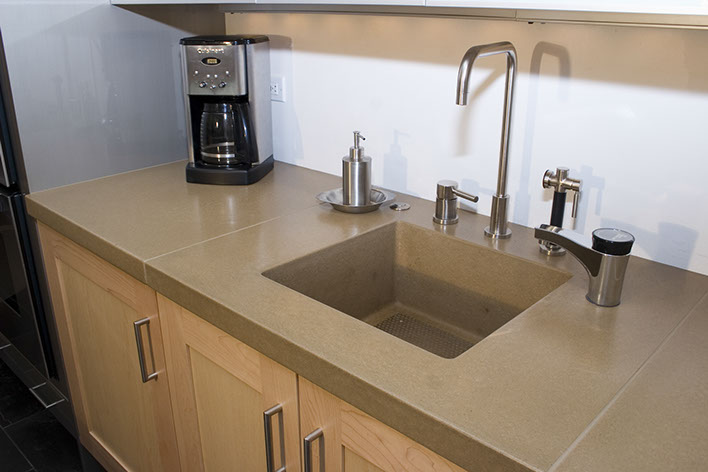 cement kitchen sink aid professional mixer sonoma cast stone concrete sinks integrated bar and prep