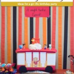 Food for a Daniel Tiger birthday party on a table with red, orange, and black streamers behind (with title and description overlay)
