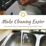 Woman's hand rinsing a fork in the kitchen sink above a title overlay with a photo of spoons in a kitchen sink below
