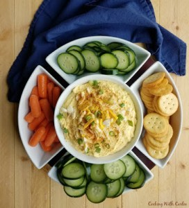 Deviled Egg Dip with veggies and crackers