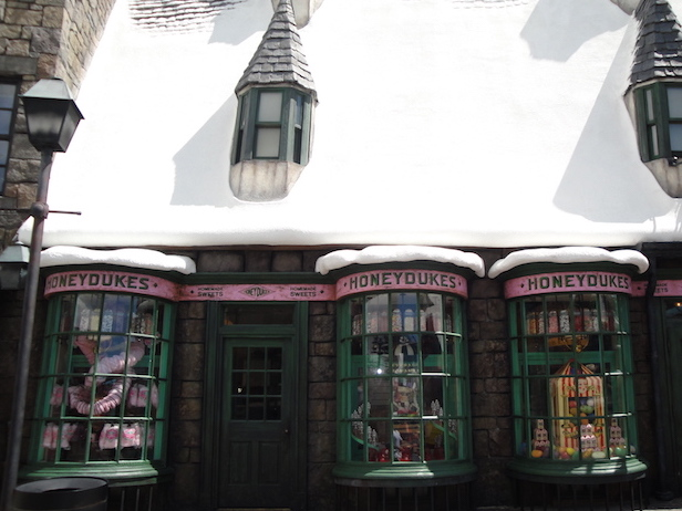 Outside of Honeydukes shop in the Wizarding World of Harry Potter at Universal Studios in Orlando, Florida