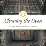 How to clean the oven naturally with minimal effort: close up of a clean oven with title overlay underneath and the dirty oven below the title
