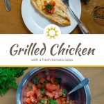 Grilled chicken topped with chopped tomatoes and cilantro next to a fork on a round white plate with a bunch of cilantro to the top right and a bowl of tomato salsa to the top left with a spoon all on a wooden surface above a title overlay in the center with a photo of chopped tomato and cilantro in a stainless steel bowl next to a bunch of cilantro on a wooden surface