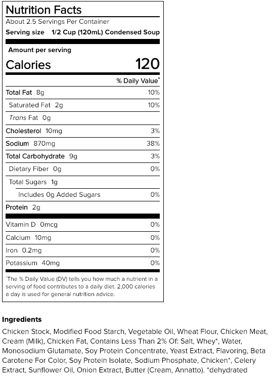 Nutrition facts and ingredients list for cream of chicken soup