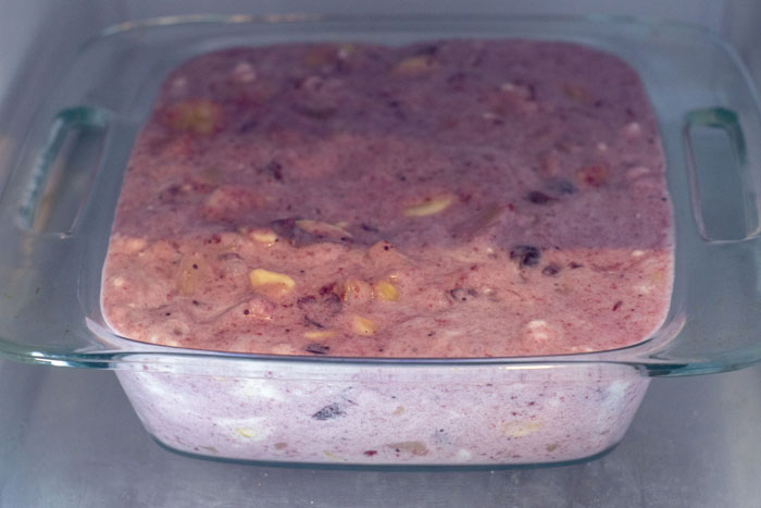 Fruit fluff in a glass dish in the freezer