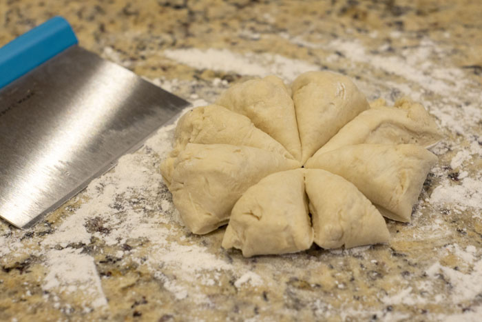 Dough divided into 8 equal wedges
