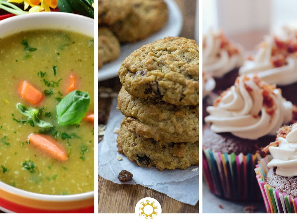 Photos of broth soup, oatmeal raisin cookies, and chocolate cupcakes with logo overlay