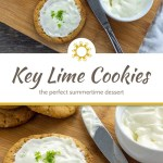 Key Lime Frosted Cookies on a bamboo tray on top of a white towel on a wooden surface (with title overlay)