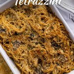 Chicken tetrazzini in a white casserole dish next to a wooden serving spoon with a white towel behind all on a white and blue surface (with title overlay)