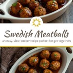 Slow cooker Swedish meatballs garnished with parsley in a white oval dish with a brown and white towel behind all on a brown wooden surface (with title overlay)