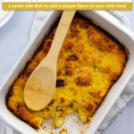 Cooked pineapple bread casserole in a white rectangular baking dish with some removed from the corner with a wooden spoon on top of a white towel with white plates behind all on a light blue surface (with title overlay)