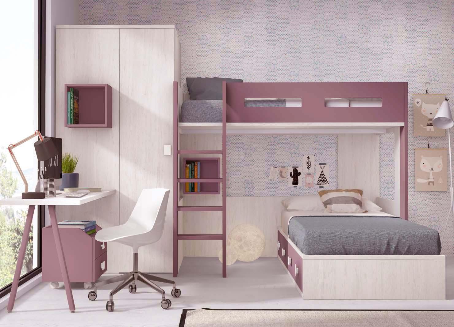 lit mezzanine ado mi hauteur avec bureau