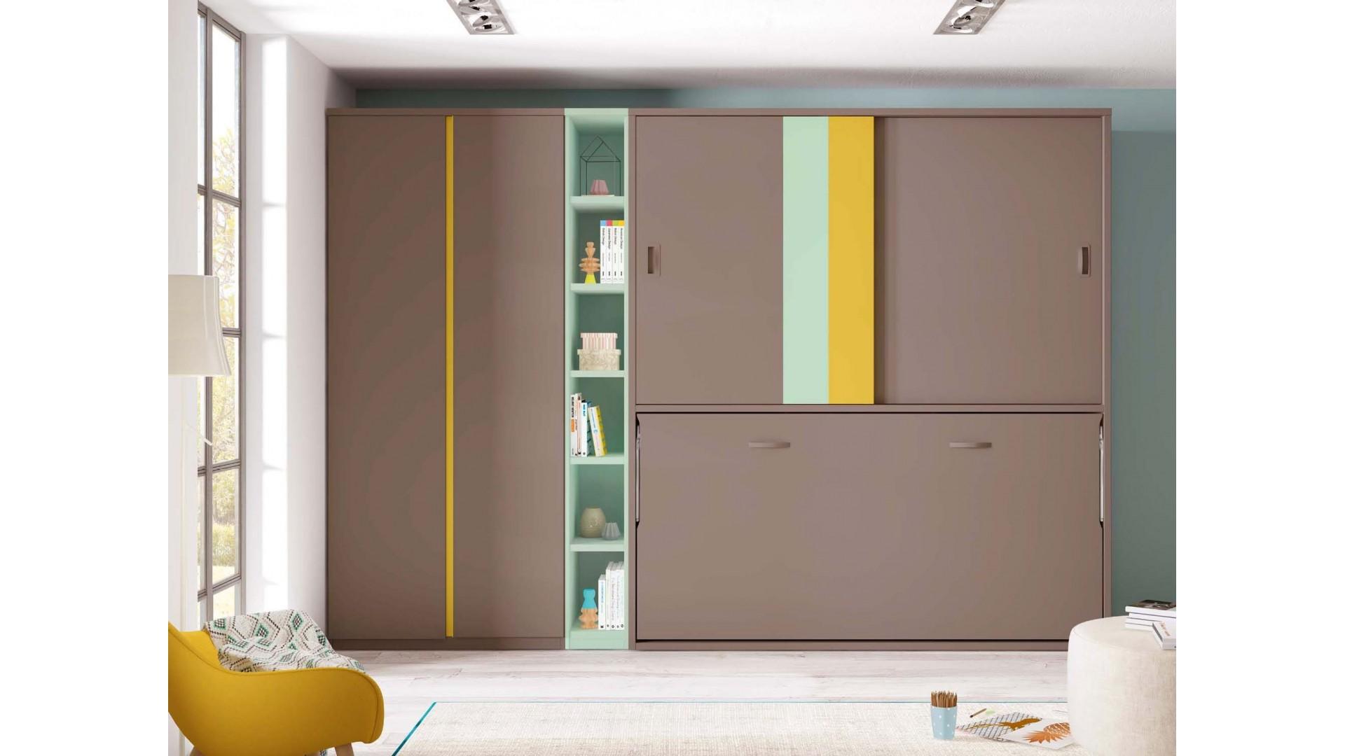 armoire lit escamotable avec bureau personnalisable f405 glicerio
