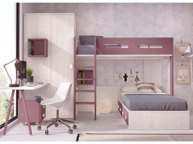 lit mezzanine ado avec couchage de 90 x 190 cm personnalisable f209 1 glicerio