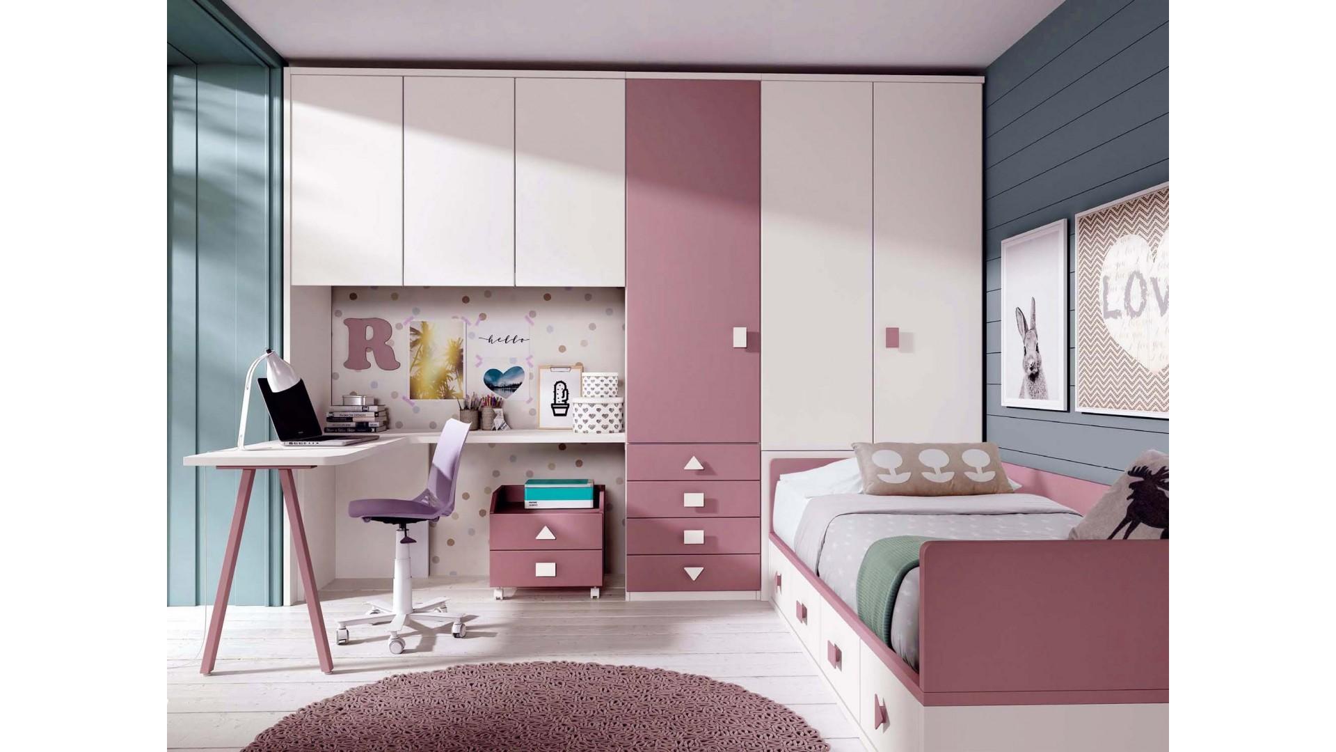 Chambre ado fille avec bureau design  GLICERIO  SO NUIT