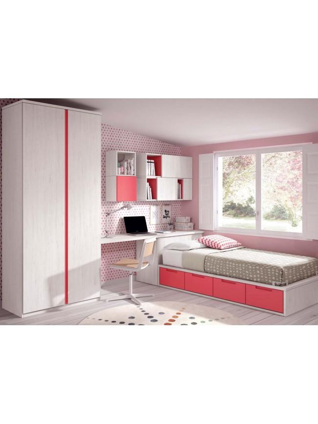lit avec rangement integre et armoire fille glicerio so nuit