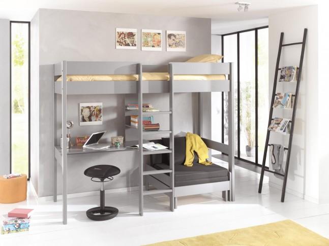 lit mezzanine avec bureau alexis couchage 90x200 cm sonuit