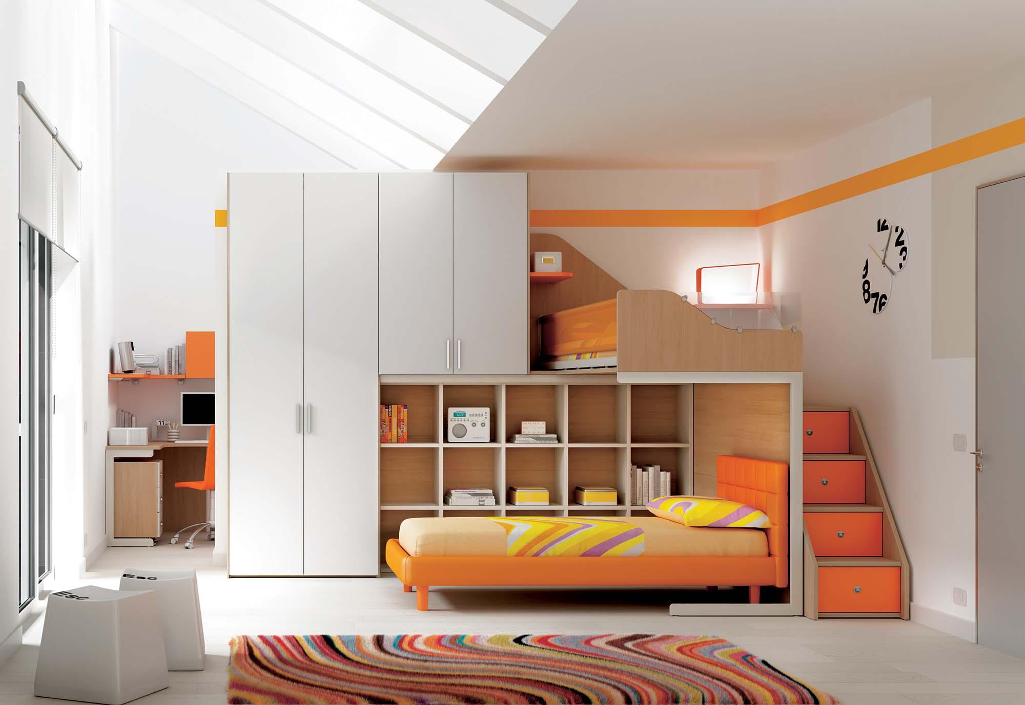 Chambre enfant lits superposs en mezzanine  MORETTI