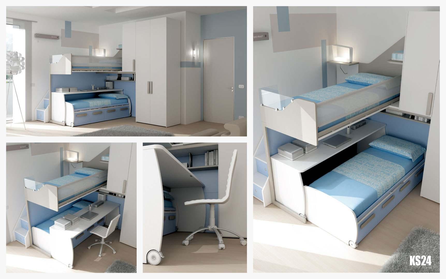 Chambre enfant avec lit  bureau mobile  MORETTI COMPACT  SO NUIT