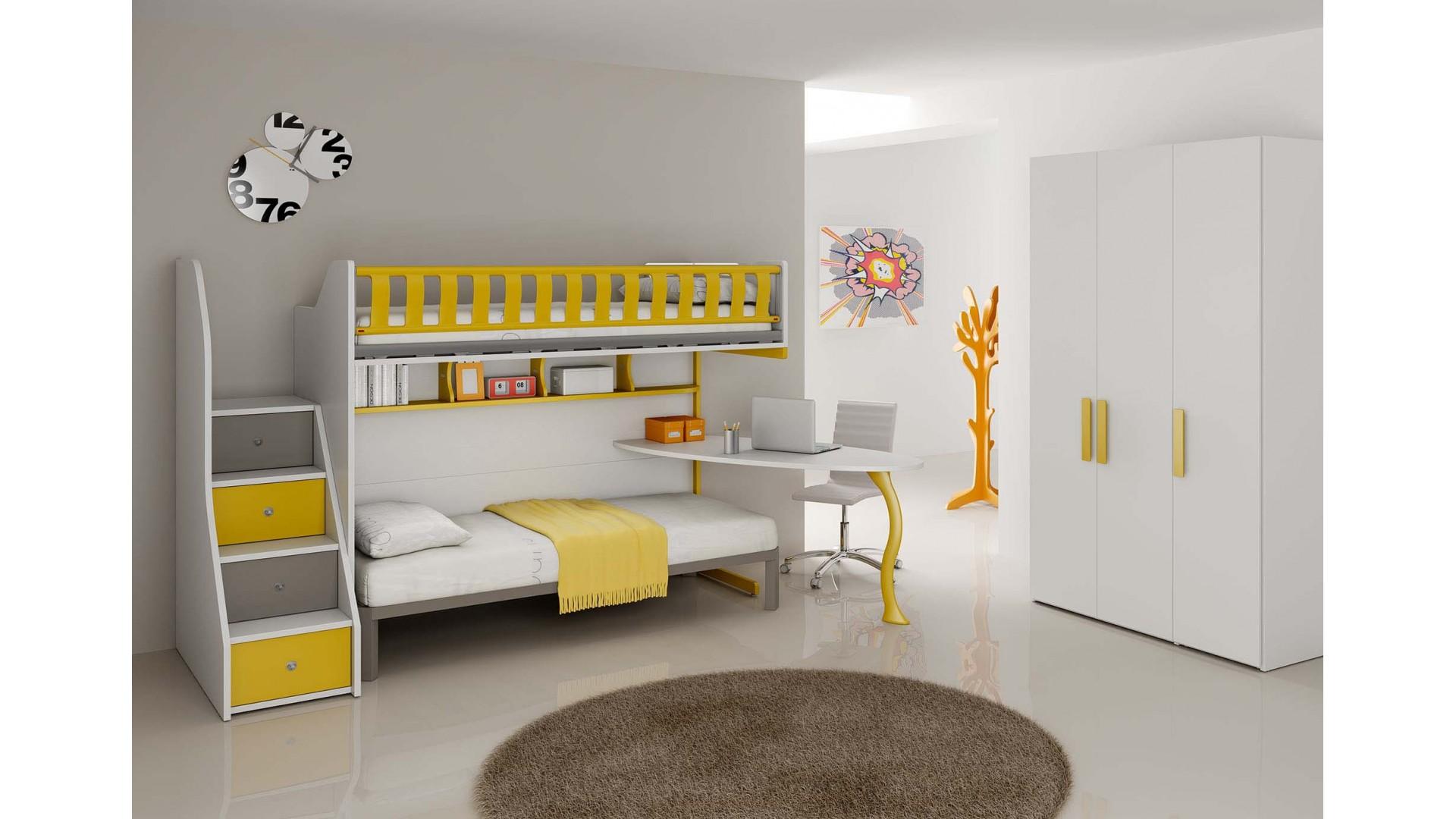 chambre enfant personnalisable bf37 avec lits superposes en mezzanine moretti compact
