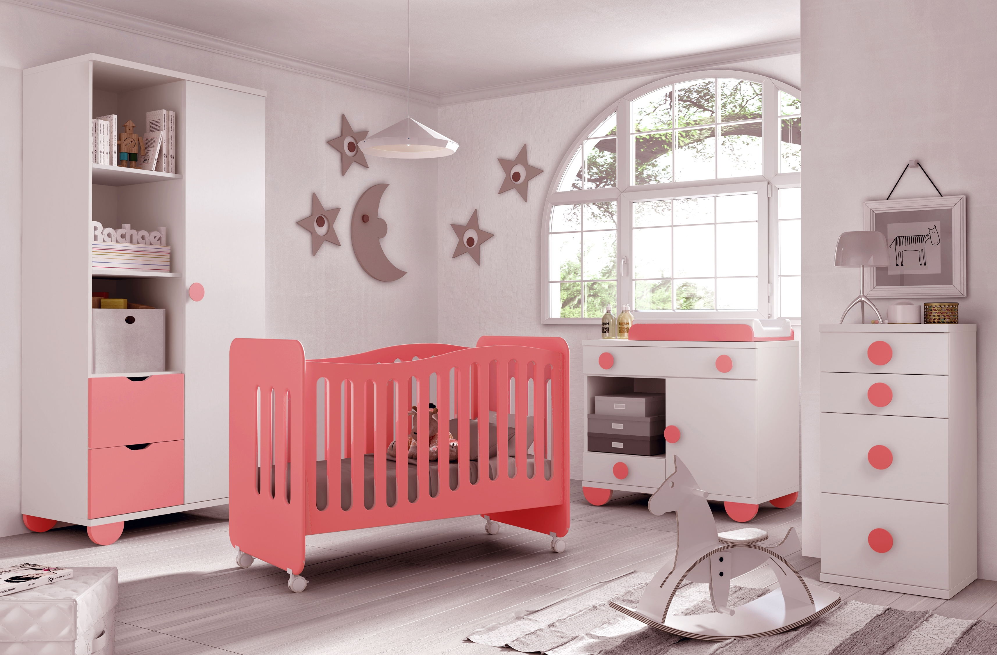 Chambre bb fille Gioco couleur blanc et rose  GLICERIO  SO NUIT