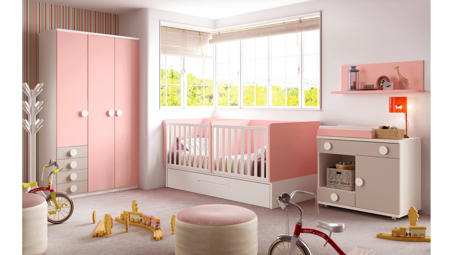Chambre bb fille avec un lit jumeaux volutif  GLICERIO  SO NUIT