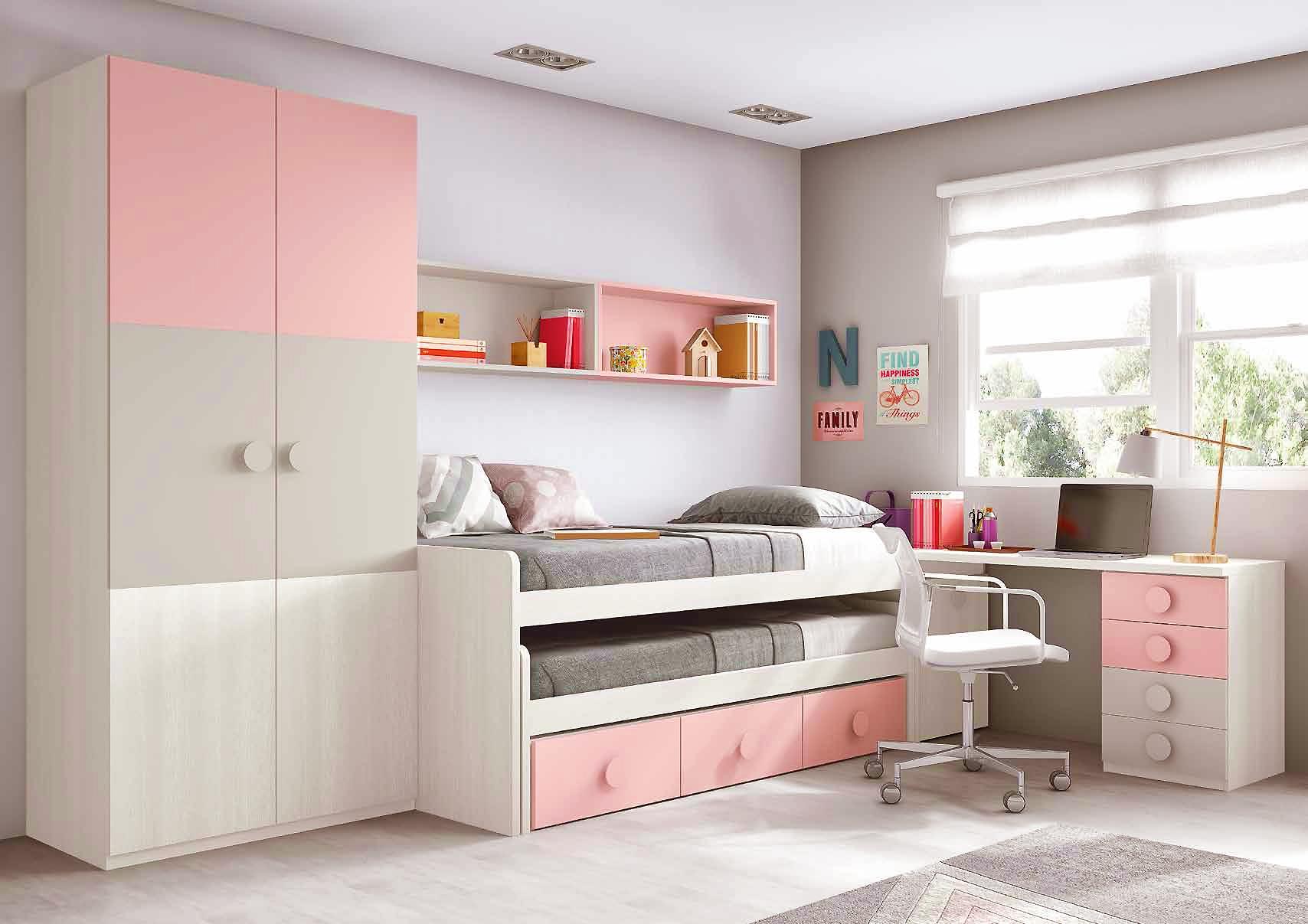 Chambre ado fille astucieuse avec son lit gigogne  GLICERIO  SO NUIT