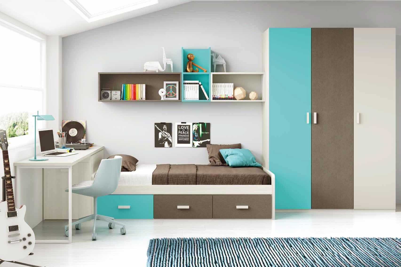 Chambre moderne ado et fun avec lit 3 coffres  GLICERIO  SO NUIT