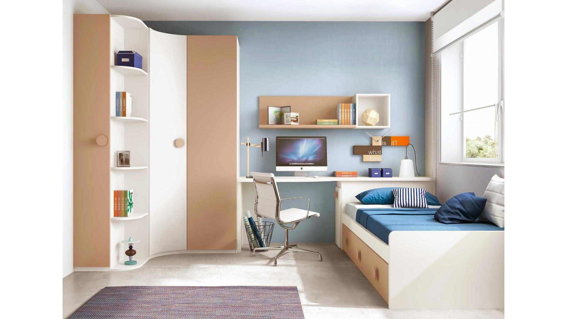 chambre enfant originale composition l104 avec lit 3 coffres glicerio