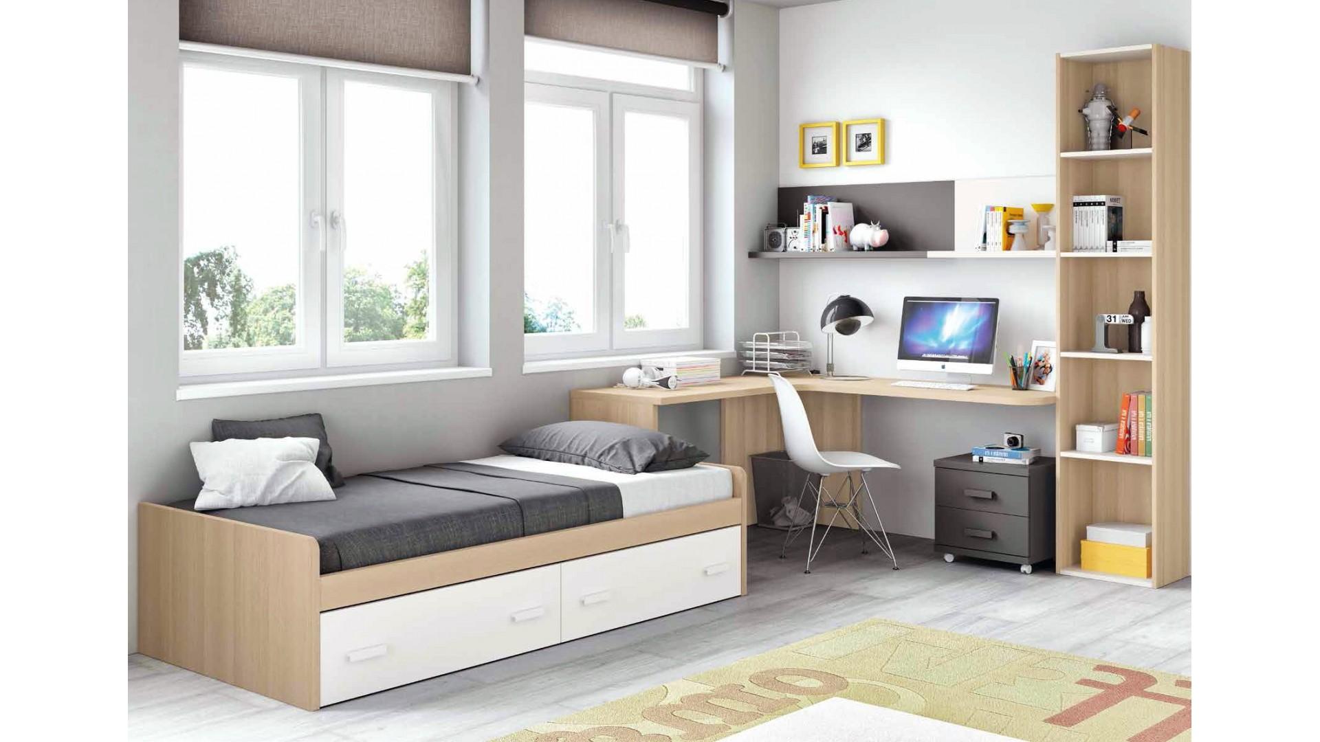 Chambre moderne ado et fun avec lit 2 coffres GLICERIO